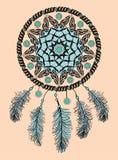 Rêvez le receveur Talisman indien indigène tiré par la main avec des plumes Conception ethnique, boho chic, symbole tribal Image libre de droits