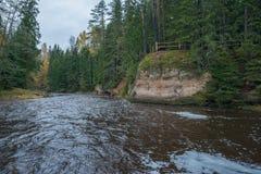 Río Amata en el otoño, árboles amarillos, visión desde la alta colina 2017 Imagen de archivo