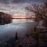 Río antes de la salida del sol Imagen de archivo libre de regalías