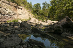 Río bajo en valle soleado Imagenes de archivo