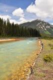 Río bermellón en Kootenay NP, Canadá Imagen de archivo