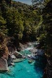 Río claro entre los acantilados con el bosque imagen de archivo