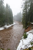 Río coloreado invierno escénico en país Foto de archivo libre de regalías