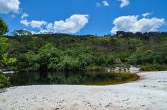 Río con la playa foto de archivo