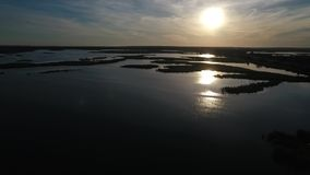 Río con las cañas durante la puesta del sol, visión desde la altura almacen de video