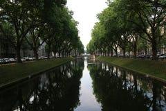 Río con los árboles en sus lados Fotografía de archivo libre de regalías