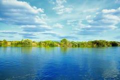 Río con los árboles verdes el día de verano Fotografía de archivo