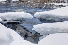 Río con los bloques de hielo congelados y nieve en sus bancos Imagenes de archivo