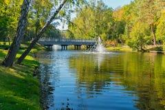 Río con una fuente y un puente y con los abedules en la orilla Fotografía de archivo