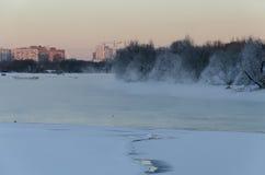 Río congelado de Moscú fotografía de archivo