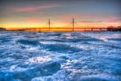 Río congelado de Neva Foto de archivo libre de regalías
