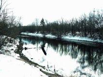 Río congelado del canal Fotos de archivo libres de regalías