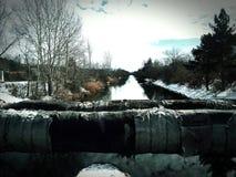 Río congelado del canal Fotografía de archivo libre de regalías