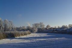 Río congelado del invierno Foto de archivo libre de regalías