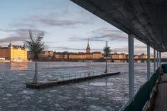 Río congelado en Estocolmo y palmeras artificiales en la pequeña isla Foto de archivo libre de regalías