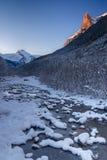 Río de Arazas nevado en el parque nacional de Ordesa Fotografía de archivo libre de regalías