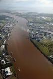 Río de Brisbane de la visión aérea Fotos de archivo