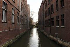 Río de Dijle en Lovaina, Bélgica Imagen de archivo