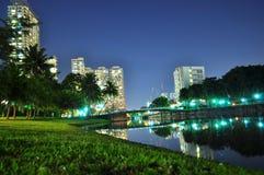 Río de Kallang por noche Imágenes de archivo libres de regalías