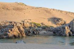 Río de Kunene delante de las dunas de arena antiguas elevadas del desierto de Namib de Namibia y de Angola Fotos de archivo libres de regalías