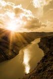 Río de la barranca del paisaje Fotografía de archivo libre de regalías