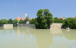 Río de la inundación en obispo Castle Fotografía de archivo
