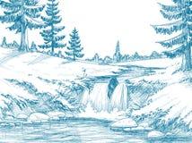 Río de la montaña ilustración del vector