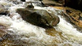 Río de la montaña con agua cristalina fría Piedras resbaladizas y agua fría espumosa alrededor Ruido del agua almacen de metraje de vídeo