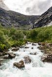 Río de la montaña con una cascada en Noruega Paisaje de Noruega imagen de archivo