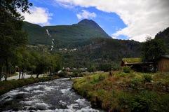 Río de la montaña de Geiranger Foto de archivo libre de regalías