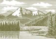 Río de la montaña del grabar en madera fotografía de archivo libre de regalías