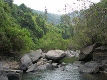 Río de la montaña en bosque indio de la selva Fotografía de archivo