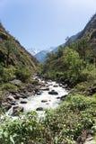 Río de la montaña en Nepal Himalaya Foto de archivo