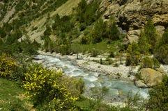 Río de la montaña, garganta de Galuyan, Kirguistán Imágenes de archivo libres de regalías