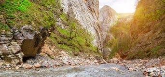 Río de la montaña a lo largo de los acantilados fotografía de archivo libre de regalías
