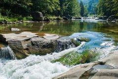 Río de la montaña que atraviesa el bosque verde imagenes de archivo