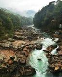 Río de la montaña que fluye entre los acantilados Foto de archivo