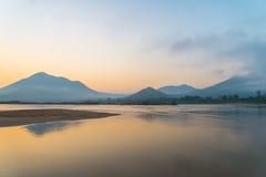 Río de la salida del sol Fotografía de archivo libre de regalías