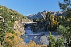 Río de la travesía del puente - colores de la caída Imagen de archivo