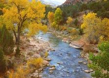 Río de la Virgen en el otoño, Zion Imagen de archivo libre de regalías