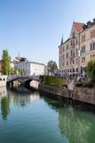Río de Ljubljanica, Ljubljana Fotos de archivo