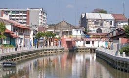 Río de Malacca en Kampang Jawa Foto de archivo libre de regalías