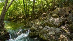 Río de piedra del bloque y de la montaña almacen de video