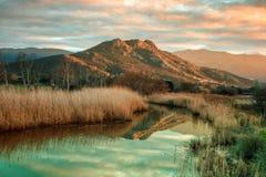 Río de Reginu que llega la playa de Losari en la región de Balagne de C Fotografía de archivo