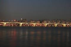 Río de Seul Han en la noche Fotografía de archivo
