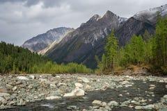 Río de Shumak en el loach de Tunkinskie fotos de archivo libres de regalías