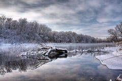 Río del bosque del invierno Foto de archivo libre de regalías