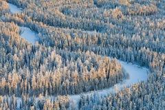 Río del bosque durante el día de invierno frío, visión superior Foto de archivo