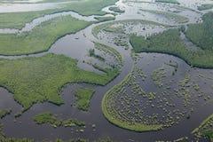 Río del bosque en la inundación, visión superior Imagenes de archivo