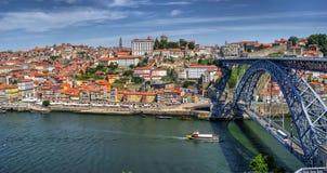 Río del Duero y puente de Dom Luis I en Oporto Fotografía de archivo libre de regalías